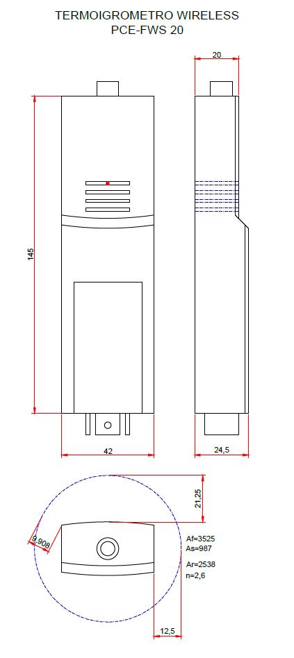 Overall dimensions termoigrometro